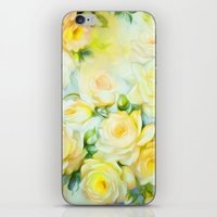 shabby chic iPhone & iPod Skins featuring Shabby Chic Yellow by Jacqueline Maldonado