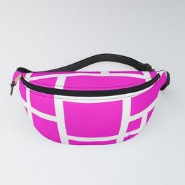 Pink and White Rectangular Geometric Block Art Design Fanny Pack