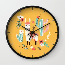 White Llama with flowers Wall Clock