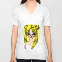 sailormoon V-neck T-shirts featuring Usagi Sukino by Sailisally