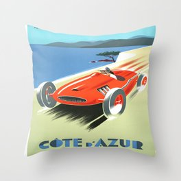 Cote d'Azur Speeder Throw Pillow