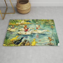 """Duck Racing in the Pond"" by Margaret Tarrant Rug"