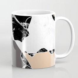 Modern black white marble gray peach color block Coffee Mug