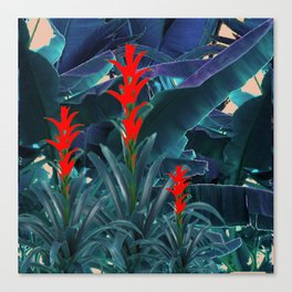 RED BROMELIAD FLOWERS & BLUE  JUNGLE LEAVES Canvas Print