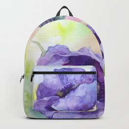 Watercolor blue poppy flowers Backpack