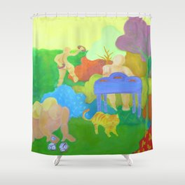 Settlers, original oil painting, fauvist nature scene, party Shower Curtain