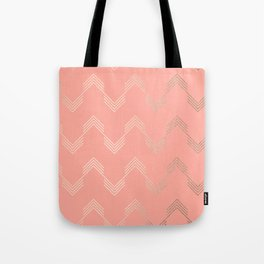 Simply Deconstructed Chevron White Gold Sands on Salmon Pink Tote Bag