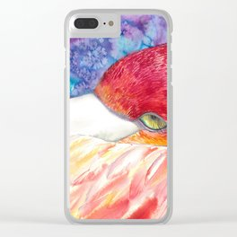 Flamingo and stars Clear iPhone Case