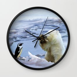 Cute Polar Bear Cub & Penguin Wall Clock