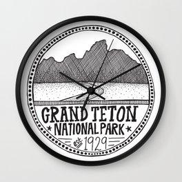 Grand Teton National Park Illustration Wall Clock