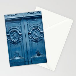 Classic Blue Door in Paris, Architecture Photography Stationery Cards