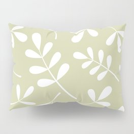 Assorted Leaf Silhouettes White on Lime Pillow Sham