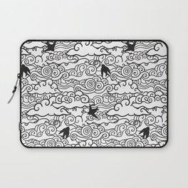 Doodle clouds and swallows. Cloudscape pattern with birds. Laptop Sleeve