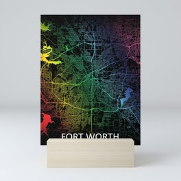 Fort Worth TX USA Rainbow City Map Mini Art Print
