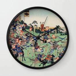 cavalry in a battle with swordsmen and archers on horseback by Utagawa Kuniyoshi Wall Clock