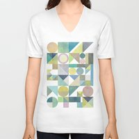 nordic V-neck T-shirts featuring Nordic Combination 21 by Mareike Böhmer