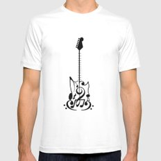 Guitar of Notes SMALL White Mens Fitted Tee