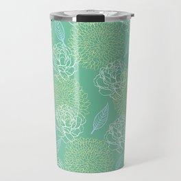 Pastel Peony and Leaf Pattern Design  Travel Mug