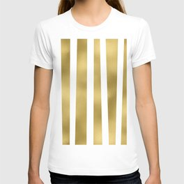 Gold unequal stripes on clear white - vertical pattern T-shirt