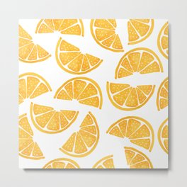 Watercolor Orange Slices On White  Metal Print