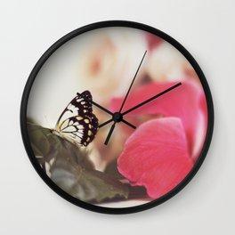 Black Butterfly Pink Flower Wall Clock