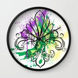 Mardi Gras Art Splash Wall Clock