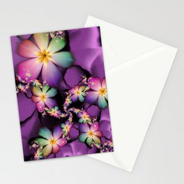 Rainbow Flowers Growing in Purple Clouds Stationery Cards