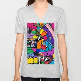Abstract Street Art Bus Stop Pattern Texture in Bologna Unisex V-Neck