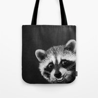 raccoon Tote Bags featuring Raccoon  by Laura Graves