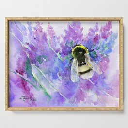 Bumblebee and Lavender Flowers Herbal Bee Honey Purple Floral design Serving Tray