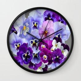 VARIEGATED PURPLE PANSY FLOWERS ART Wall Clock