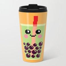 Happy Pixel Bubble Tea Metal Travel Mug