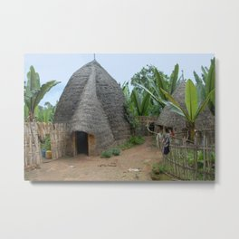 Dorse Village Bamboo Houses Street, Etiopia, Africa Metal Print
