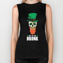 St Patricks Day Sugar Skull Top Hat Day Of The Drunk Biker Tank