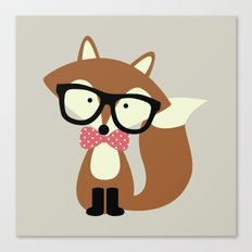 Glasses and Bow Tie Hipster Brown Fox Canvas Print