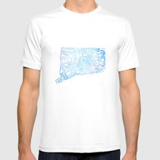 Typographic Connecticut - blue water White Mens Fitted Tee MEDIUM