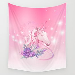 Unicorn in Pink Wall Tapestry