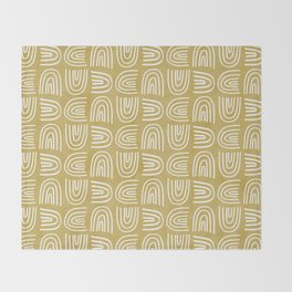 Handdrawn Rainbows in Mustard Yellow Throw Blanket