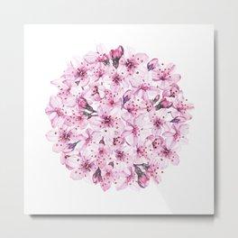 Sakura Cherry Blossom watercolor Metal Print