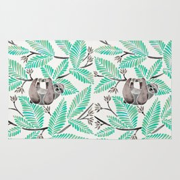 Happy Sloth – Tropical Mint Rainforest Rug