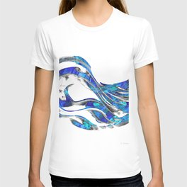Blue And White Abstract Art - WaveBlue And White Modern Art - Wave 3 - Sharon  3 - Sharon Cummings T-shirt