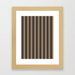 Tan Brown and Black Vertical Var Size Stripes Framed Art Print