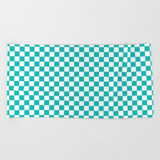 Checker (Tiffany Blue/White) Beach Towel
