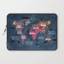 world map 115 #worldmap #map Laptop Sleeve