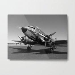Douglas DC-3 Dakota Chrome Art Deco Airplane black and white photograph / art photography by Brian Burger Metal Print