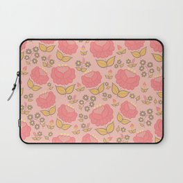 Retro floral - red, light pink, mustard Laptop Sleeve