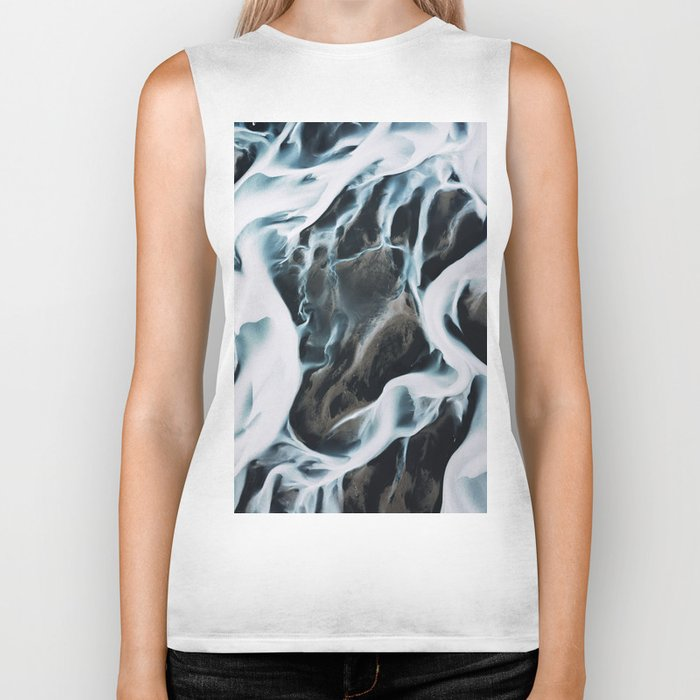 Aerial of an abstract River in Iceland Biker Tank
