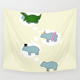 Baby Hippo Daydreams Wall Tapestry