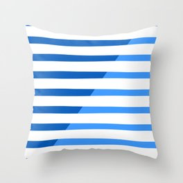Beach Stripes Blue Throw Pillow