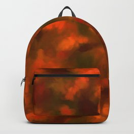 Red, Orange Floral Abstract Backpack